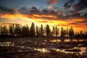 Sonnenaufgang in einem Moor in Dalarna, Schweden